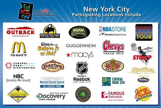Eat and Play Card Rabattkarte Partner in New York